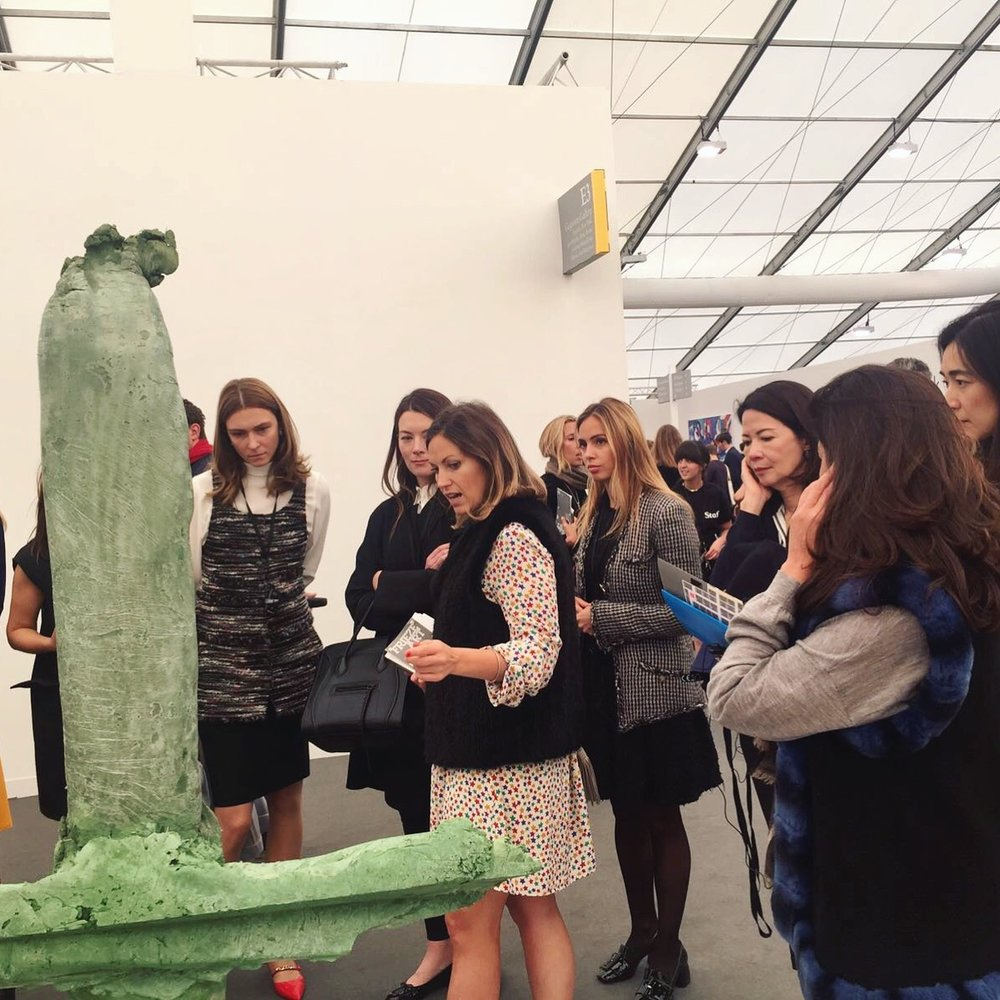 ArtSocial Club members looking at a 2016 Turner Prize nominee Michael Dean's sculptural work at Frieze Art Fair 2016.