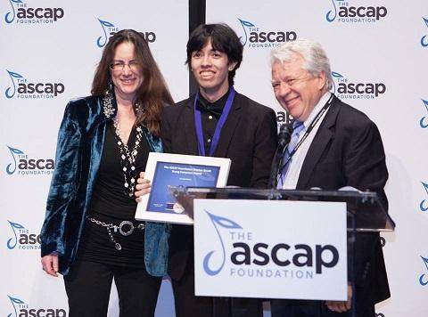 Tengku Irfan receiving the Morton Gould Young Composer Award 2017 from  Alex Shapiro  and  Jim Kendrick .