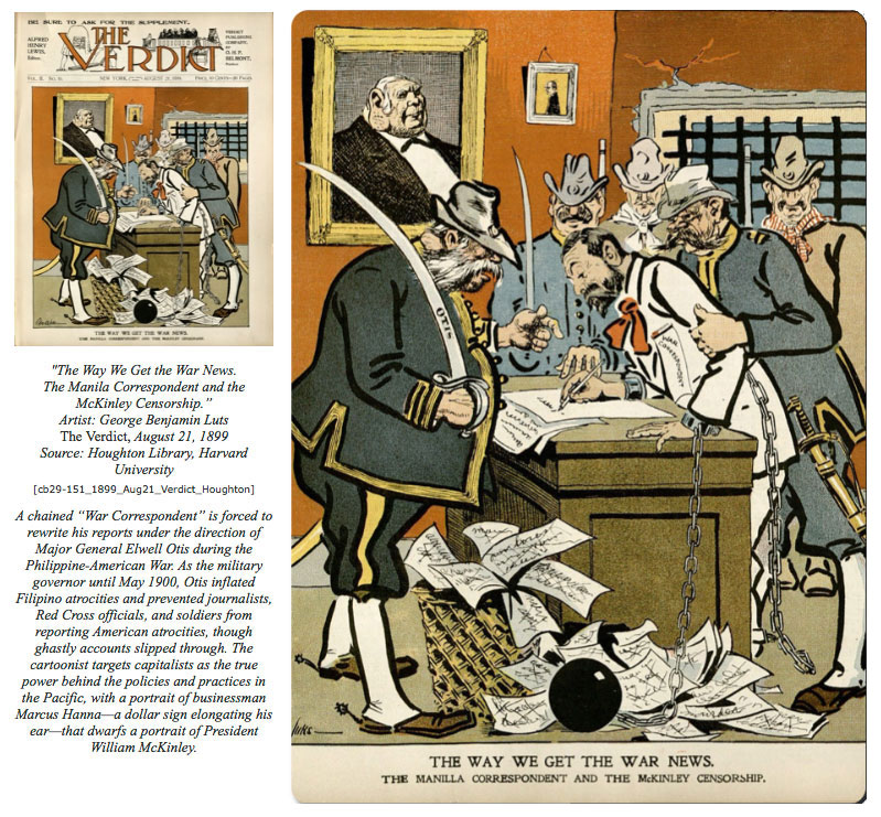 """The Way We Get the War News"" by George Benjamin Luts, The Verdict, 1899, as it appears in ""Civilization & Barbarism"" by Ellen Sebring, Visualizing Cultures, 2014."