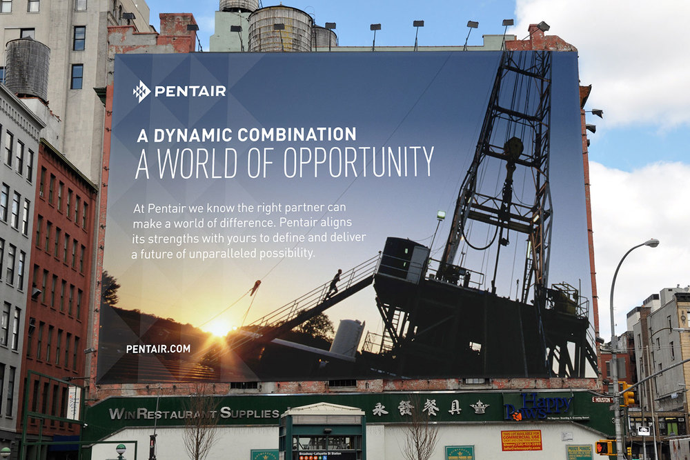Pentair billboard: A Dynamic Combination, A World of Opportunity
