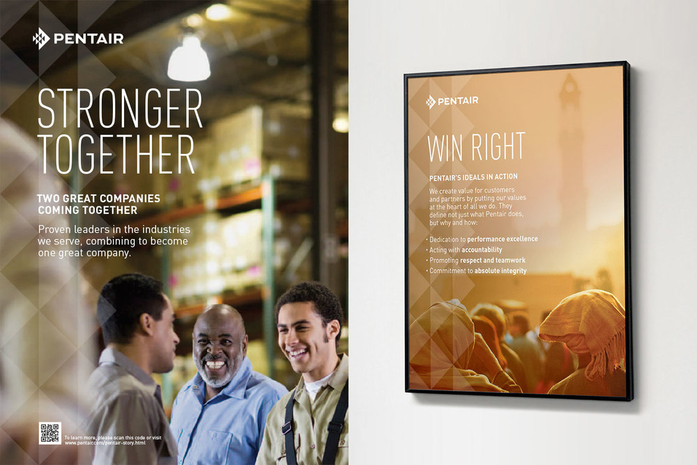 "Pentair employee engagement Vision and Values posters: ""Stronger Together"" and ""Win Right: Pentair's Ideals in Action"""