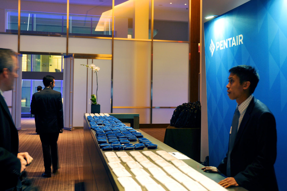 Photo of Pentair Investor and Analyst Day registration desk