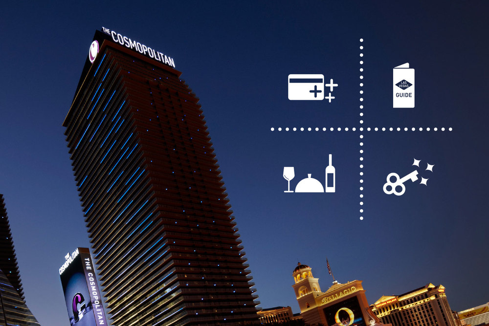 Exterior photo of The Cosmopolitan of Las Vegas, with icons representing hotel amenities