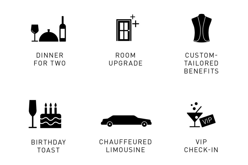Icons representing benefits of The Cosmopolitan's Identity Membership program: dinner for two, room upgrade, custom-tailored benefits, birthday toast, chauffeured limousine, VIP check-in