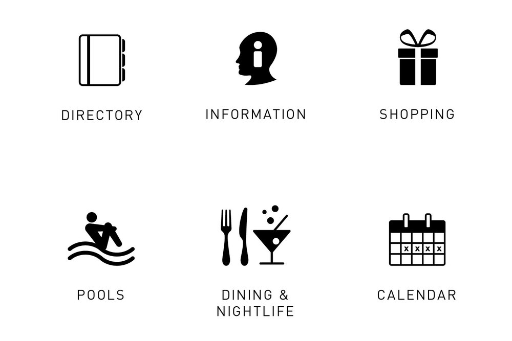 Icons representing guest amenities and features available on The Cosmopolitan's in-room infotainment system: directory, information, shopping, pools, dining and nightlife, calendar