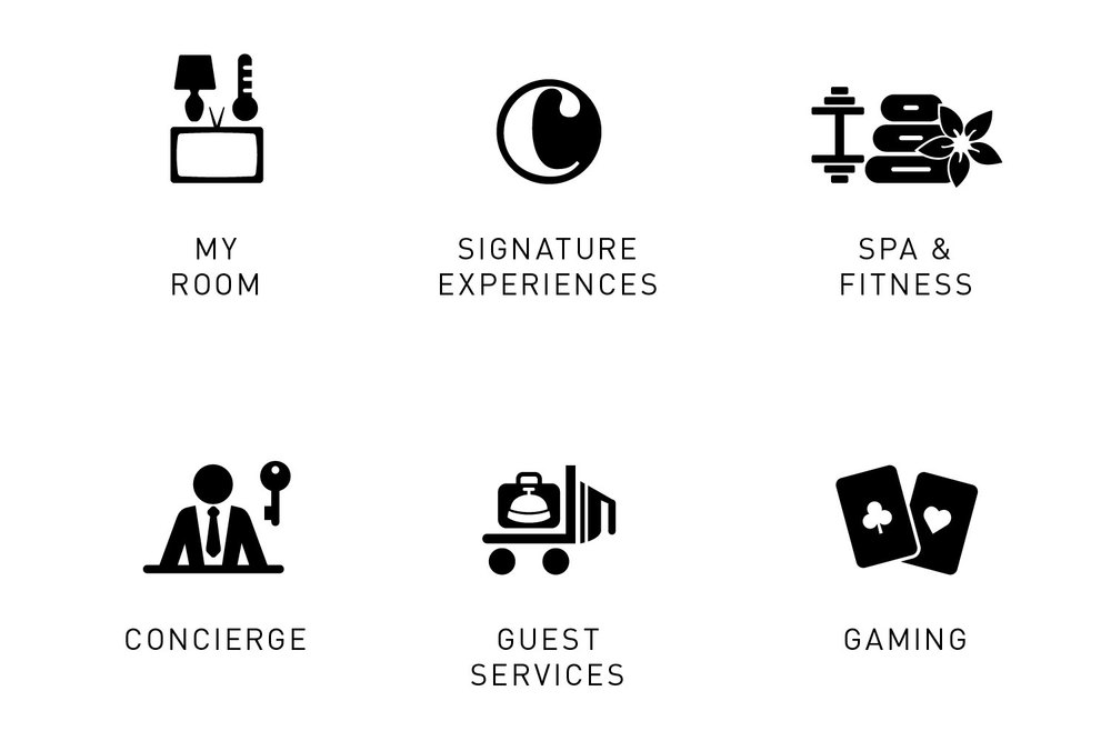 Icons representing guest amenities and features available on The Cosmopolitan's in-room infotainment system: my room, signature experiences, spa and fitness, concierge, guest services, gaming