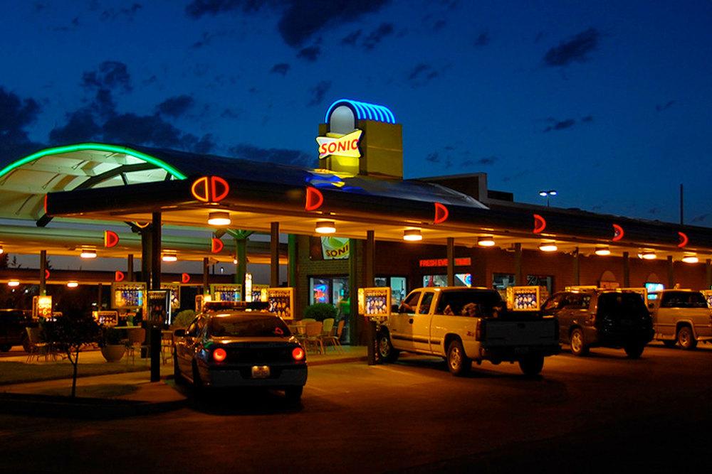 Exterior of Sonic restaurant at night