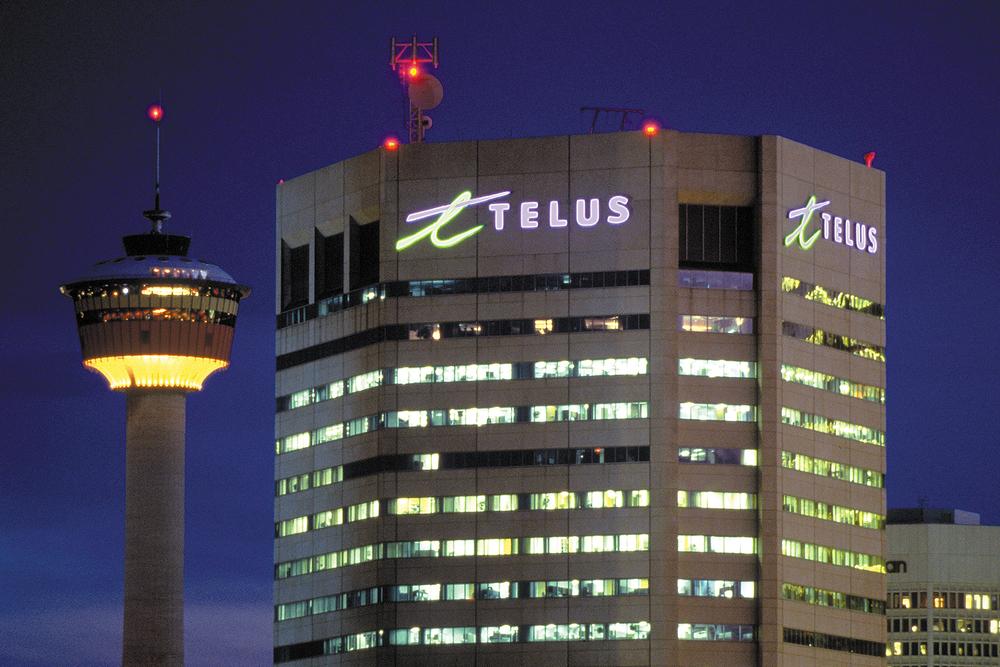 Telus illuminated building sign