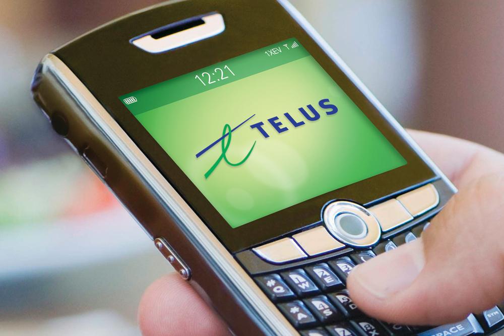 Telus logo on mobile device