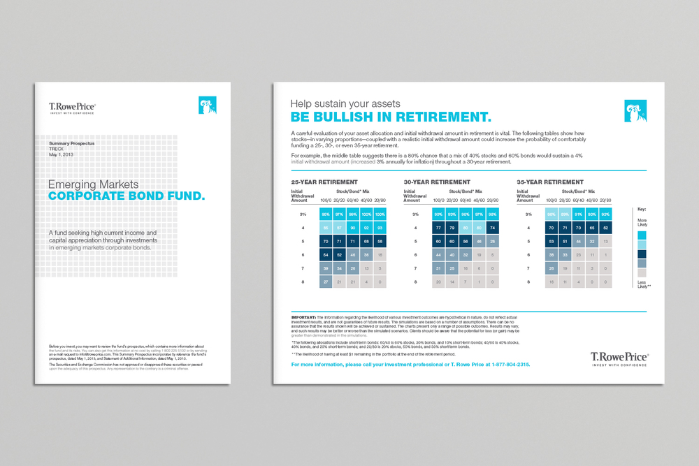 "T. Rowe Price prospectus cover and ""hard card"" illustrating recommended investment mix"