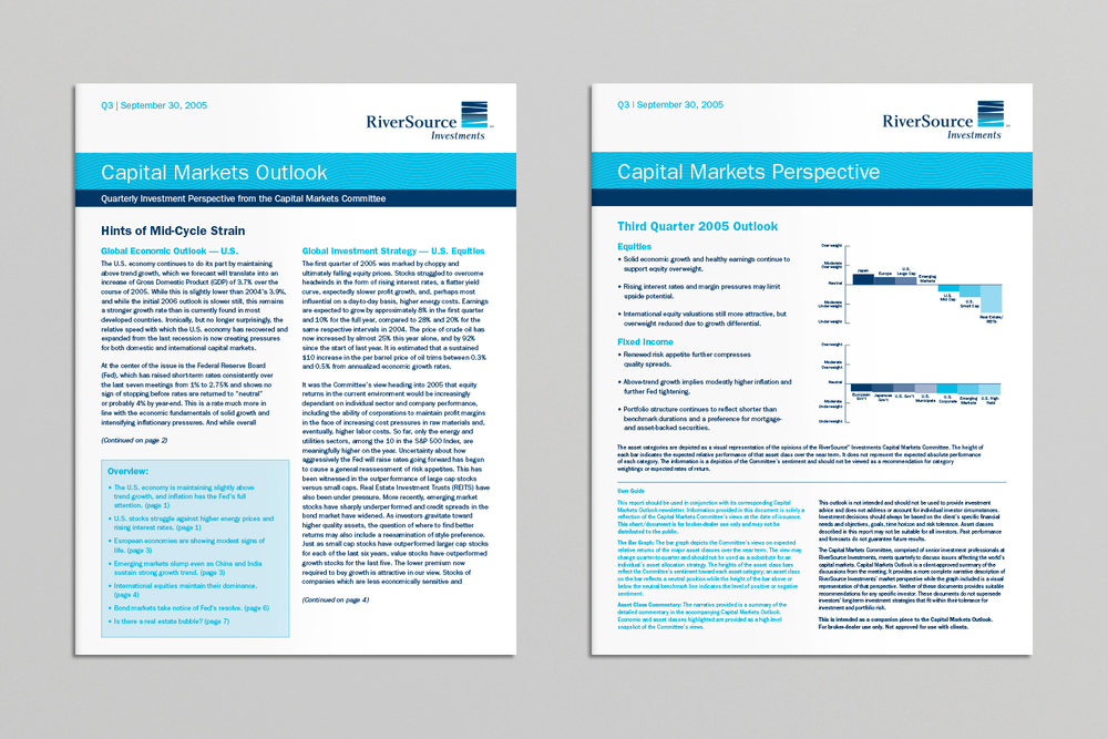 RiverSource Investments Capital Markets Outlook and Capital Markets Perspective