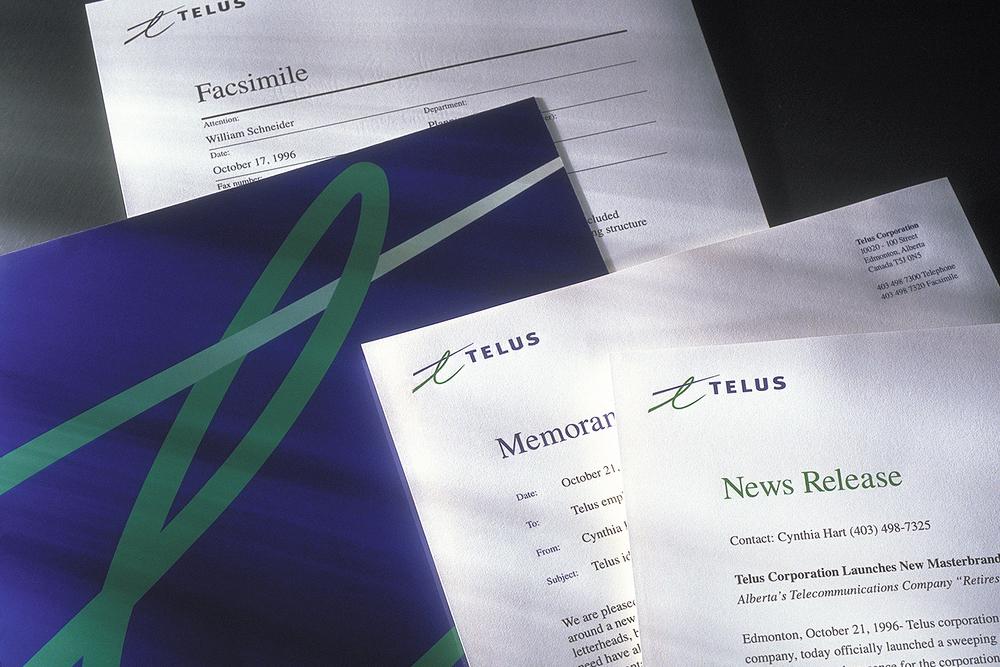 Telus business communications: news release, memo, fax cover sheet, kit folder