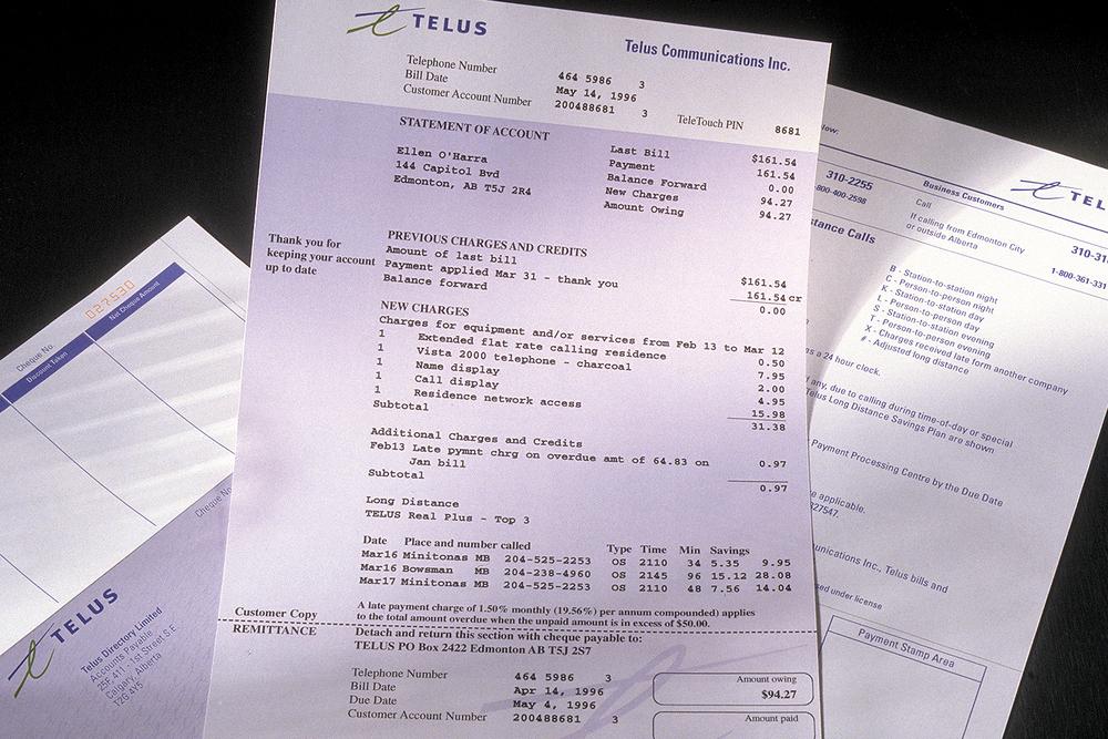 Telus billing statement