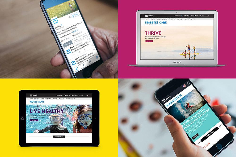 Abbott social media, and desktop and mobile web sites