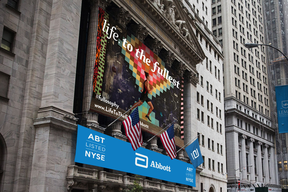 Abbott out-of-home awareness campaign at the New York Stock Exchange