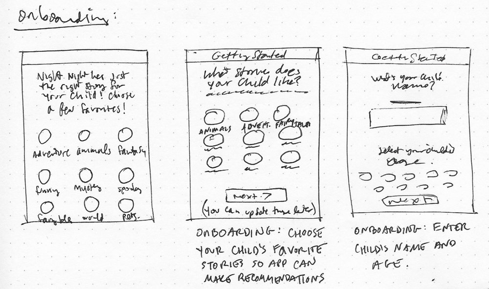 Sketches, onboarding