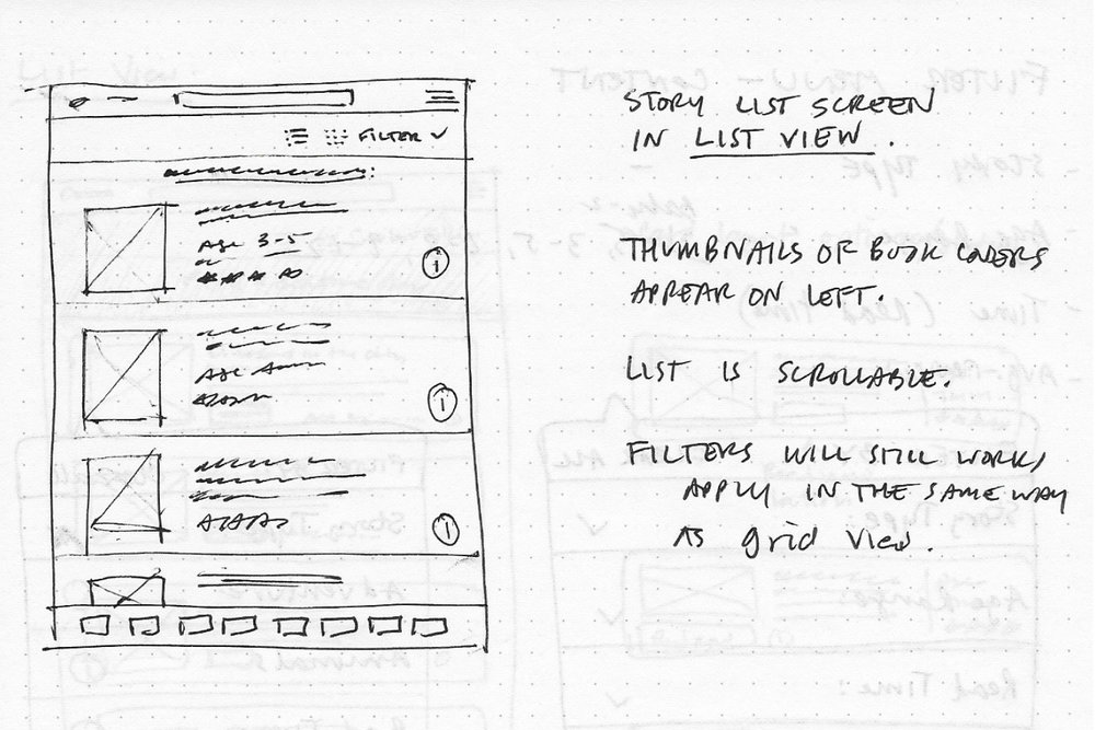 Sketches, story index, list view