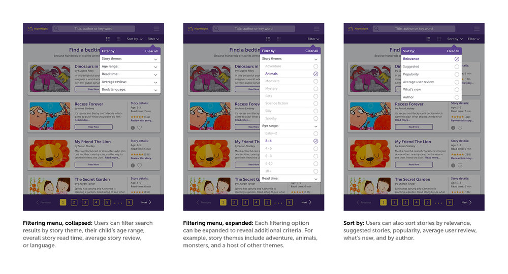 Visual design, filter menu