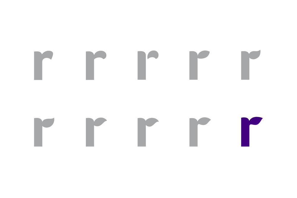 "Amyris logo design, exploration for lowercase ""r"""