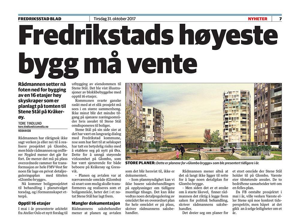 Fra Fredriksstad Blad 31. oktober 2017. Klikk på bildet for å se det større...