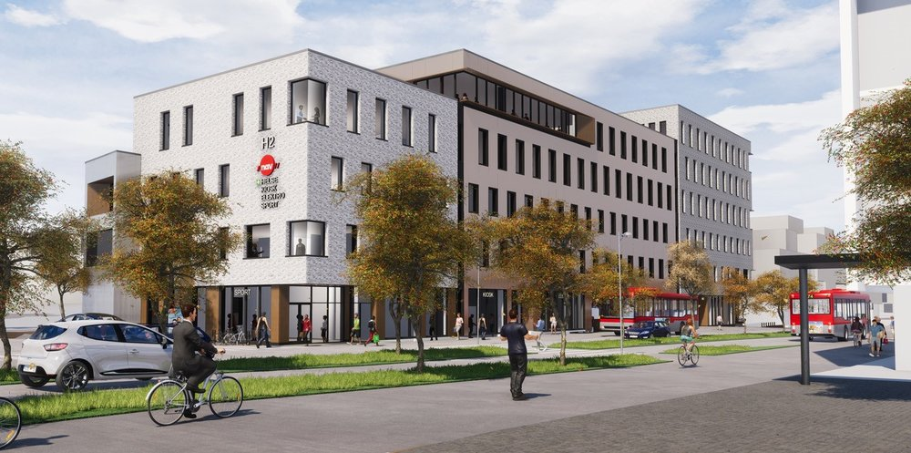 H2 - Nytt kontorbygg med svært sentral beliggenhet i Fredrikstad. Illustrasjon: Griff Arkitektur