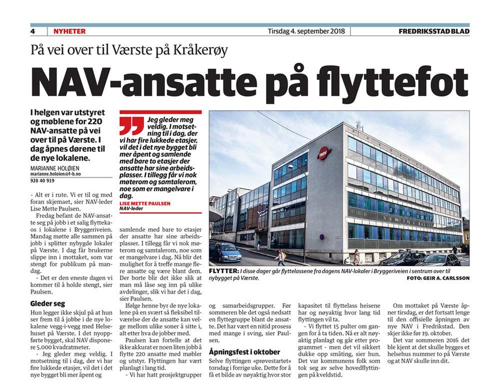 Fra Fredriksstad Blad tirsdag 4. september 2018. Klikk på bildet for å se det større