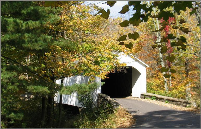 The covered-bridge by the farm. Beware of ghosts in there.