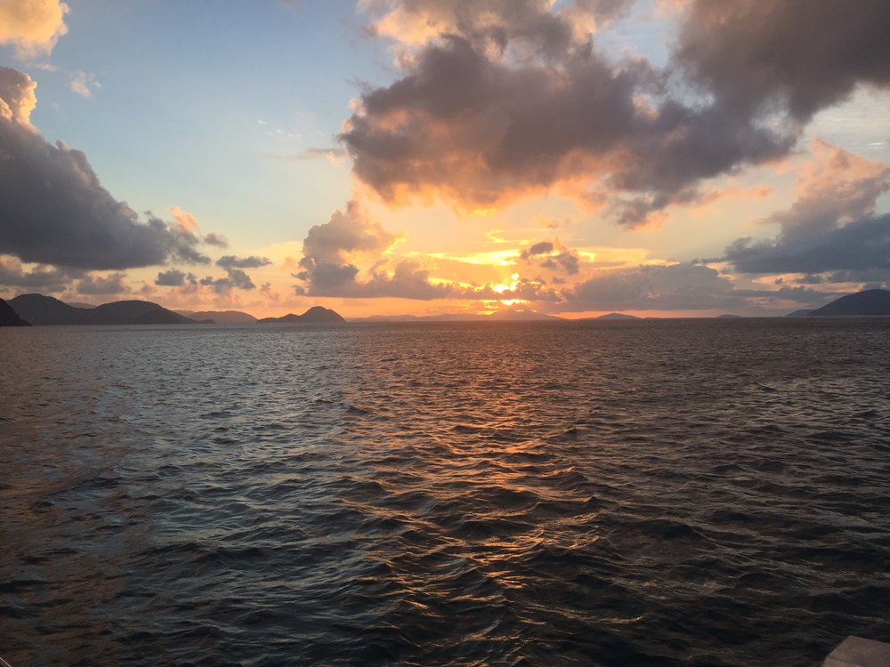 Sailing in the BVI's. I recommend it. It's peaceful AF.