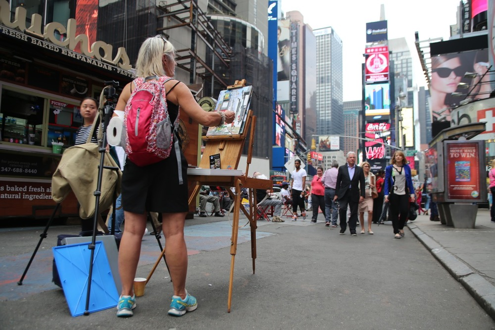 Painting Plein Aire on Times Square