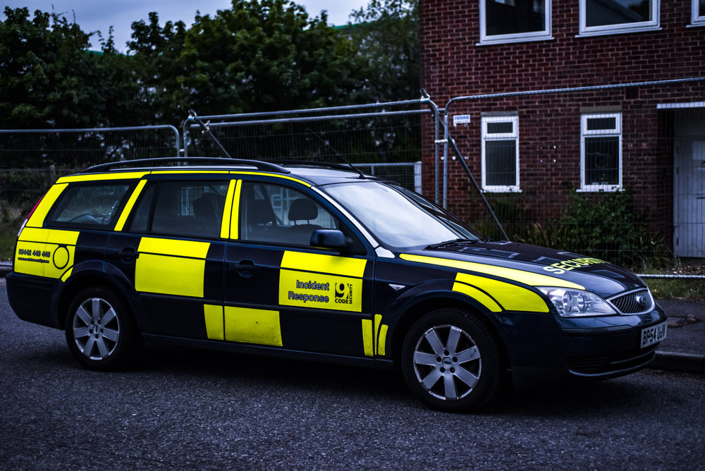 A Code 9 Security tactical support unit visiting a Basingstoke development site as part of routine proactive duties.