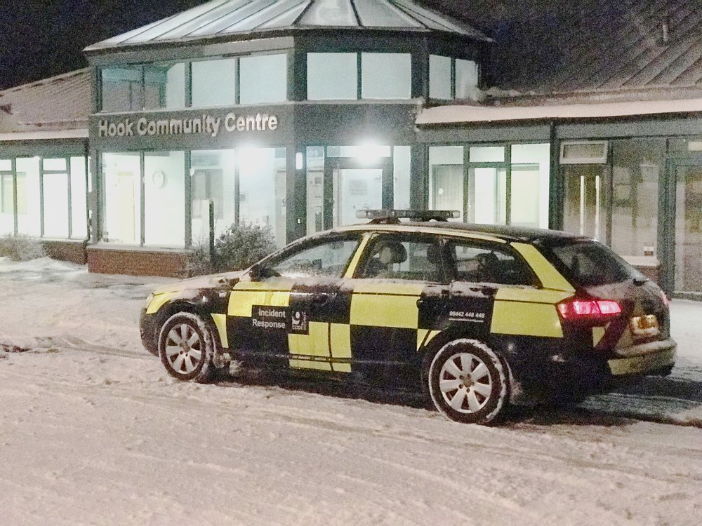 Code 9 Security Tactical Patrol Team coping with the adverse weather conditions.