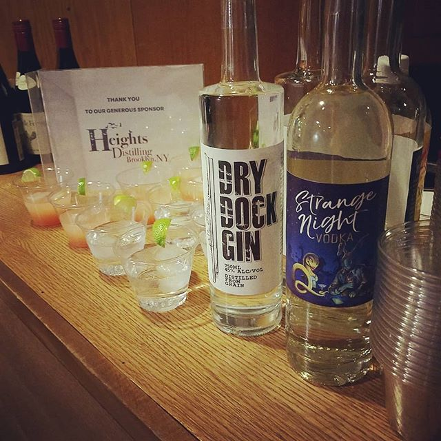 Very happy to be sponsoring @vineyardtheatre for their Holiday Open House!  But, you don't have to be in theatre to enjoy a delicious Dry Dock Gin and Tonic or Greyhound with Strange Night Vodka! Check out heightsdistilling.com to see where you can pick up a bottle in the NYC area!  #brooklynmade #brooklynspirits #manhattan #theatre #localbooze