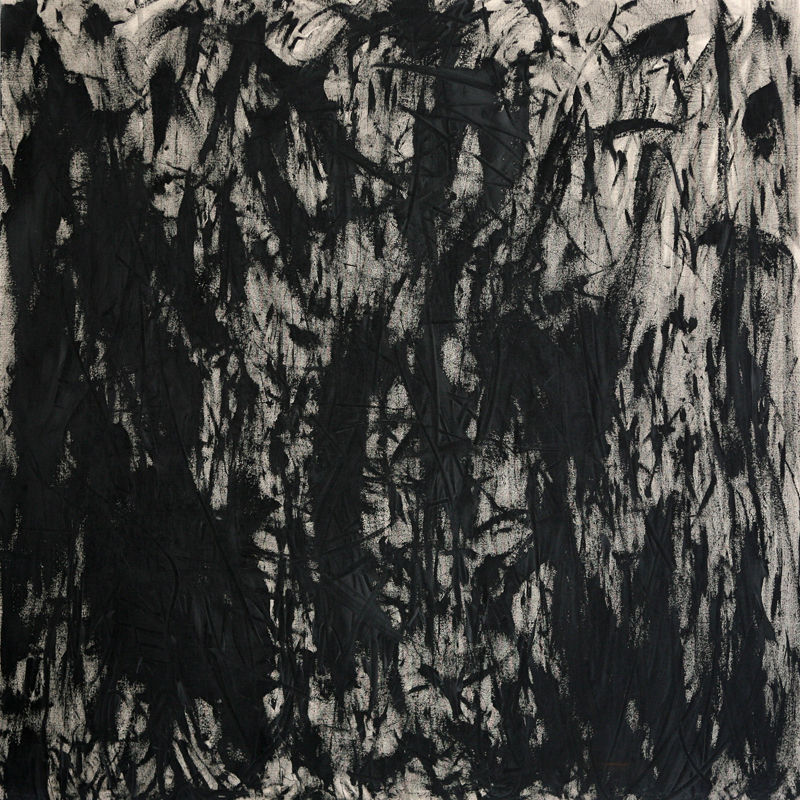 Two Brushes, 2009, black gesso on linen, 170 cm x 170 cm