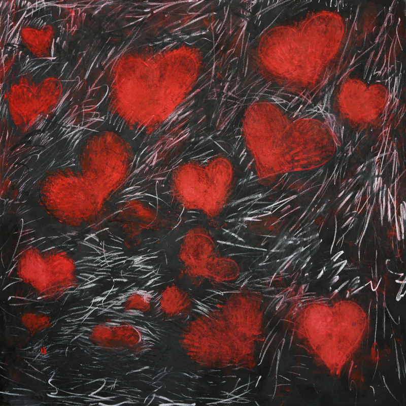 Red Hearts, 2009, black gesso and oil paint and oil stick on linen, 170 cm x 170 cm