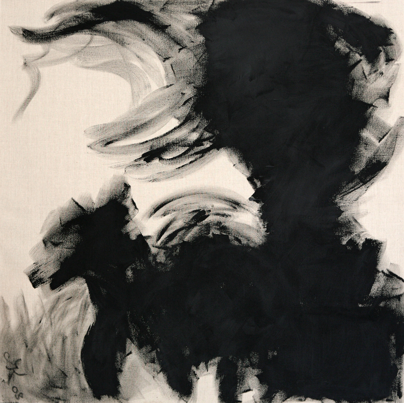 Black Dog, 2008, black gesso on linen, 170 cm x 170 cm