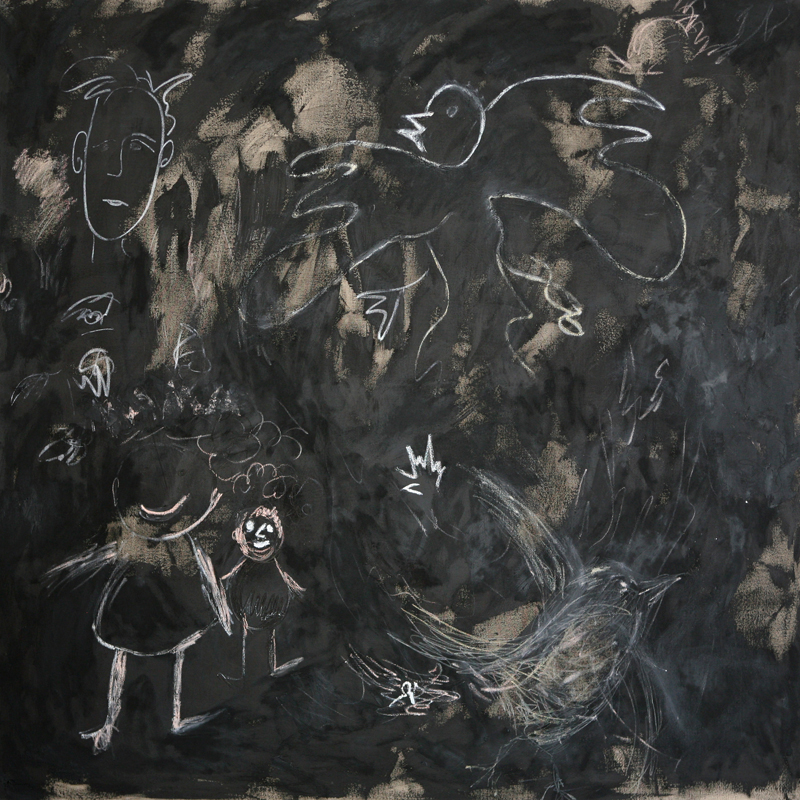 White Doodles on Black, 2009, oil paint, oil sticks, pencil and black gesso on linen, 170 cm x 170 cm