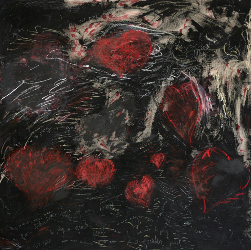 """From Bitter Searching of the Heart"", 2009, oil, crayon, pencil and black gesso on linen, 170 cm x 170 cm"