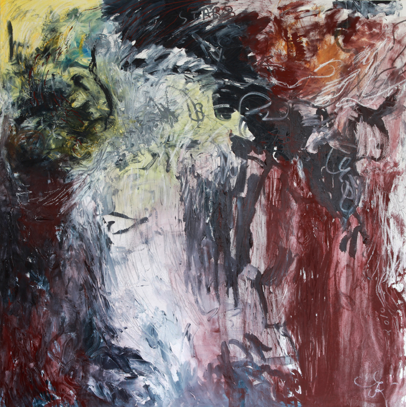 Explosion, 2010, oil paint, dry pigment and oil sticks on linen, 170 cm x 170 cm