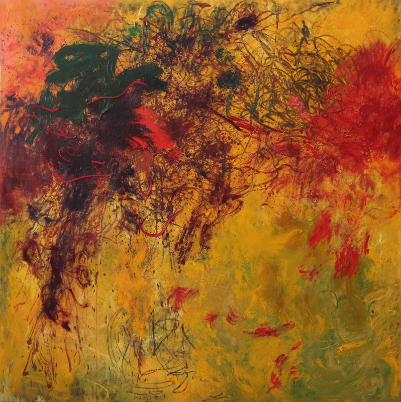 Yellow Field with Red Flower, 2011 -14, 170 cm x 170 cm, oil on canvas