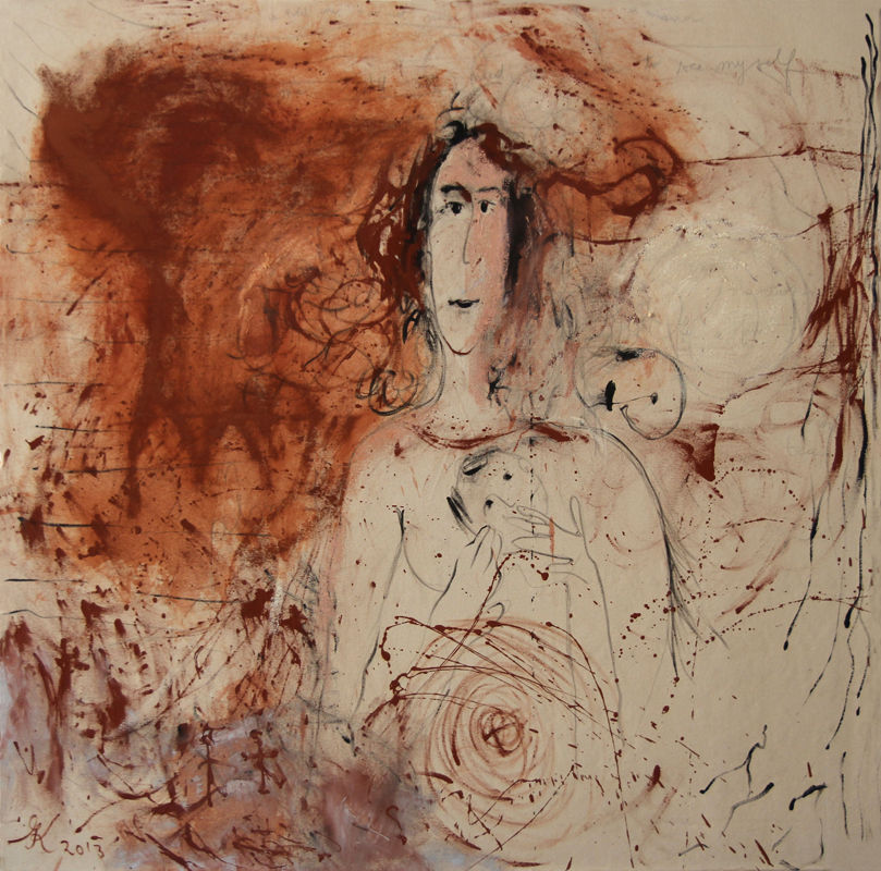 I do Not Need A Mirror To See See Myself, 2013, 120 cm x 120 cm, oil, pencil and oil stick on canvas