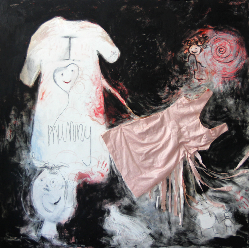 """I love Mummy"", 2012-13, 170 cm x 170 cm, oil, pencil, oil stick and silk dress on canvas"