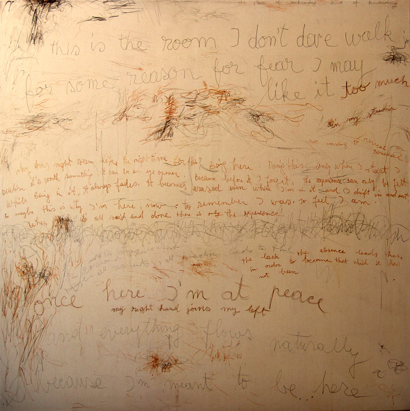 Words on Canvas, 2013, 170 cm x 170 cm, pencil and crayon on canvas