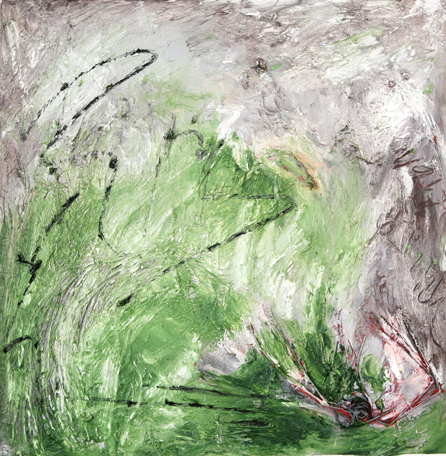 Green Abstract, 2007, oil and found wire object on canvas, 51 cm x 51 cm
