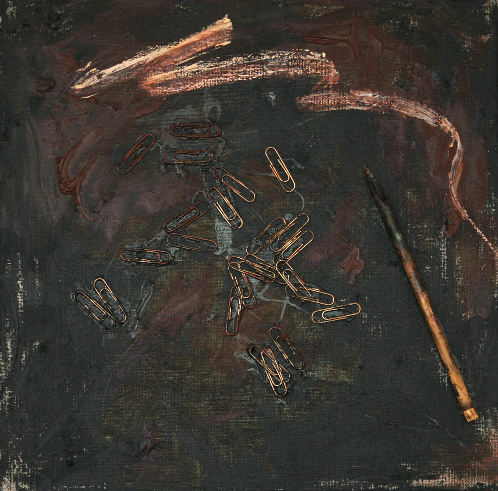 Brown Abstract, 2007, oil, powder pigment and objects on canvas, 30 cm x 30 cm