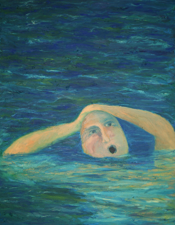 Swimmer Startled - Water Series, Exhibition at the Royal Over-seas League, London 1994