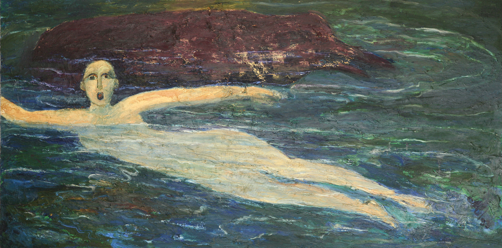 Swimmer in Dangerous Waters - Water Series, Exhibition at the Royal Over-seas League, London 1994