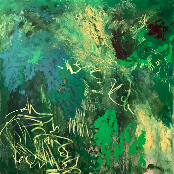 Journey in Green, 2015, oil on linen 170 cm x 170 cm