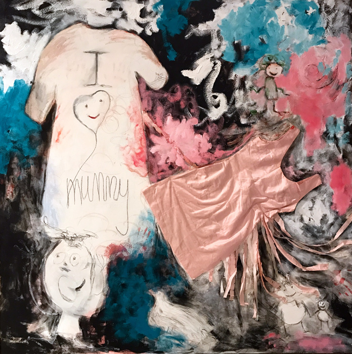 I Love Mummy, 2016, oil paint, pencil and silk dress on linen, 170 cm x 170 cm