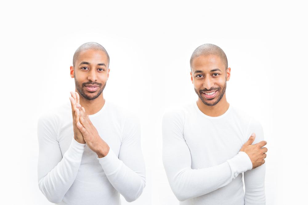 male model posing in photo studio paris