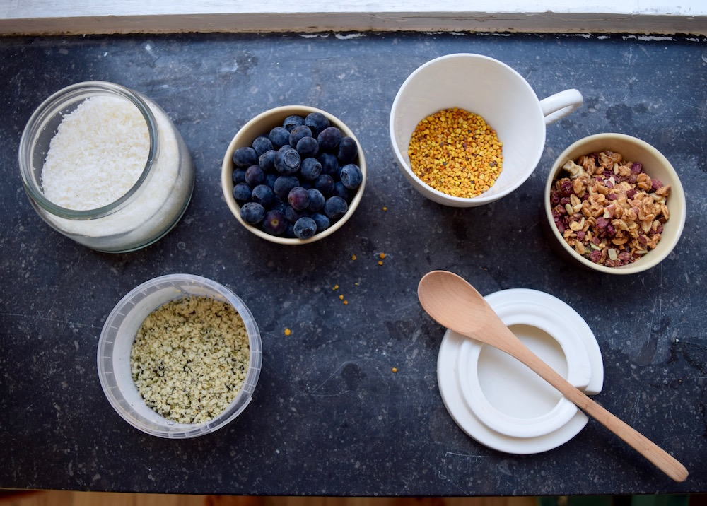 Toppings-coconut-blueberry-bee-pollen-hempseed-granola
